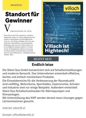 Neue Lösungen gegen Lärmemissionen in der Stadtzeitung. Villach ist Hightech - Neue Lösungen gegen Lärmemissionen am Hightech Standort