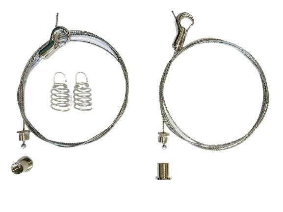 Ceiling mounting set for acoustic foam with retaining hooks, spiral anchor and wire rope L=1500mm